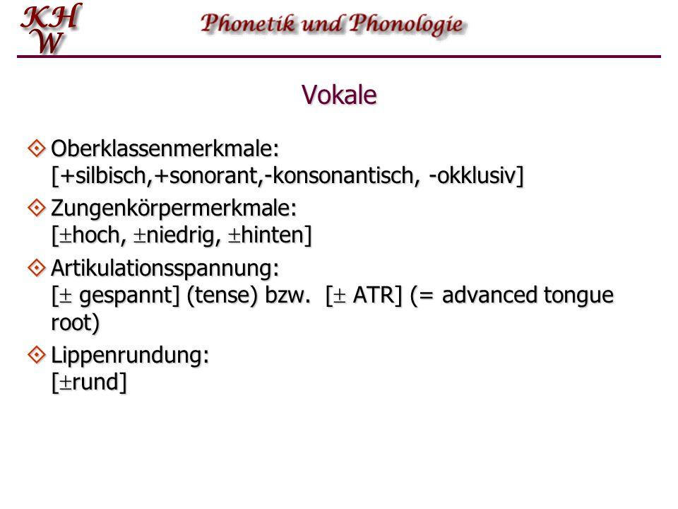 Vokale Oberklassenmerkmale: [+silbisch,+sonorant,-konsonantisch, -okklusiv] Zungenkörpermerkmale: [hoch, niedrig, hinten]